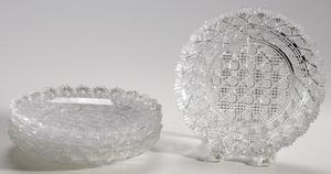 Five Dorflinger Brilliant Period Cut Glass Plates