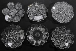 Six Brilliant Period Cut Glass Plates