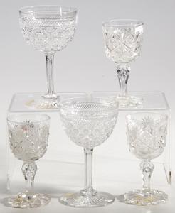 12 Brilliant Period Cut Glass Wine Glasses