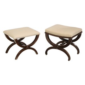 Two Similar Classical Fruitwood Footstools