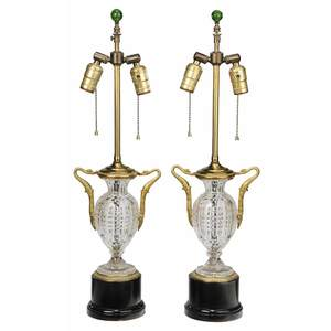 Pair Empire Style Gilt Bronze Cut Crystal Lamps