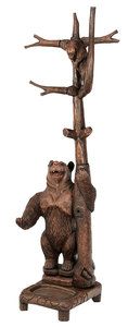 Black Forest Style Carved Bear Form Hall Tree