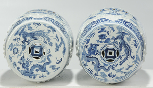 Pair Blue and White Porcelain Garden Seats