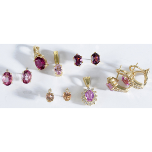 Group of Gold and Pink Gemstone Jewelry