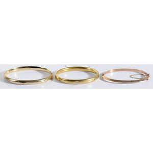 3 Gold Hinged Bangle Bracelets