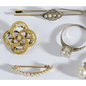 Group of Antique Gold & Pearl Jewelry