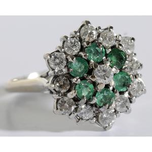 18kt., Diamond & Emerald Ring