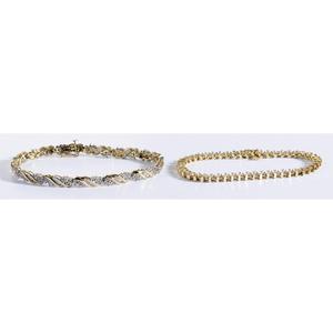 Two Gold & Diamond Bracelets