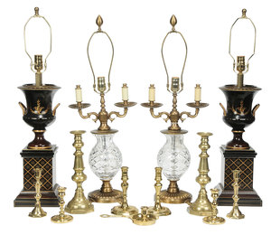 Group Of 13 Lamps And Brass Candlesticks