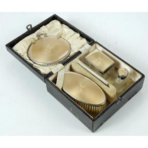 English Silver and Enamel Travel Dresser Set