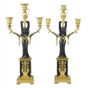 Pair Empire Bronze Three Light Candelabra
