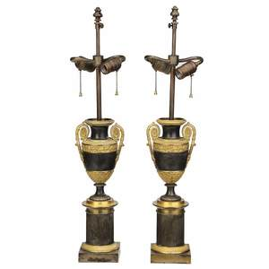 Pair Louis Phillipe Urns Mounted As Lamps