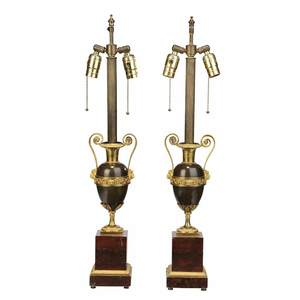 Pair Louis XVI Style Bronze Urns Mounted as Lamps