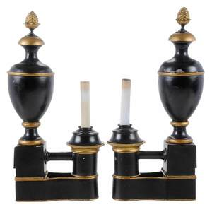 Pair Argand Tole Lamps