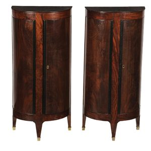 Pair Empire Part Ebonized Bedside Cabinets