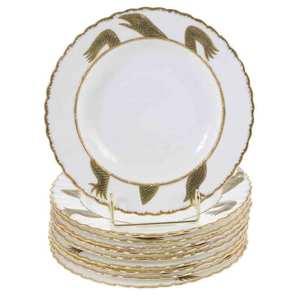Ten Gilt Porcelain Turtle Soup Bowls