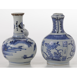 Two Cobalt Blue Decorated Kendi