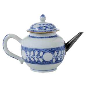 Chinese Blue And White Teapot, Silver Spout