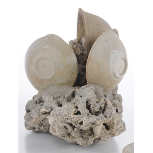 Coral and Porcelain Shipwreck Sculpture and Bowl
