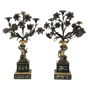 Pair Louis XV Style Putto Figural Candelabra