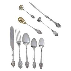 45 Pieces Sterling Medallion Flatware
