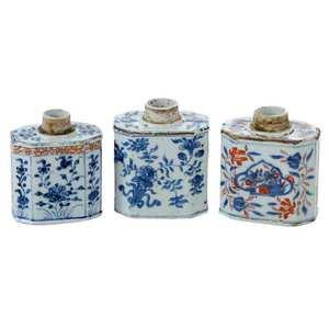 Three Chinese Export Porcelain Tea Caddies