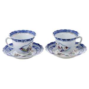Pair Chinese Export Cups and Saucers