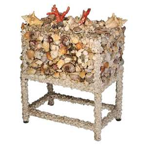 Coral and Shell Encrusted Lidded Coffer