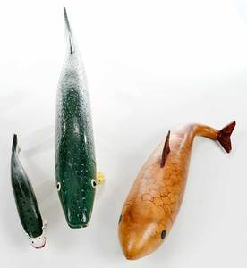 Two Painted Fish Decoys and Gourd Whale