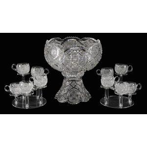 Quaker City Cut Glass Punch Bowl, Ten Cups