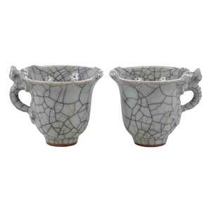 Pair Ge Ware Celadon Crackle Glaze Cups