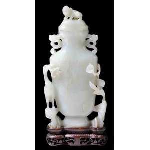 Carved Celadon Jade Vase