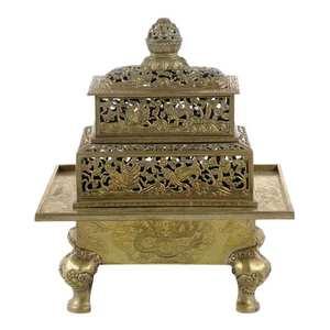 Bronze Rectangular Censer with Cover