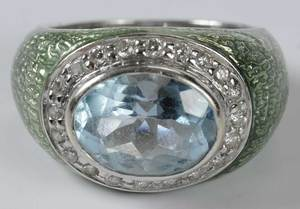 18kt. Diamond, Blue Topaz & Enamel Ring