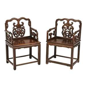Pair of Chinese Carved Hardwood Open Arm Chairs