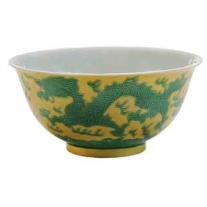 Yellow-Ground Porcelain Dragon Bowl