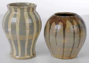 Two Log Cabin Pottery Vases