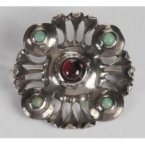 Silver Gemstone Arts & Crafts Brooch