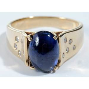 14kt.,Synthetic Sapphire & Diamond Ring