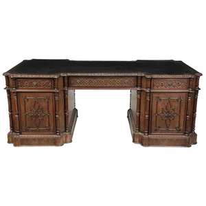 Gothic Style Carved and Figured Pedestal Desk