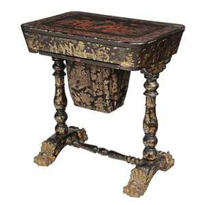 Chinese Export Lacquer Decorated Sewing Table
