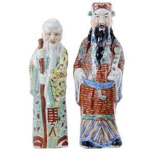 Two Mandarin Porcelain Standing Figures