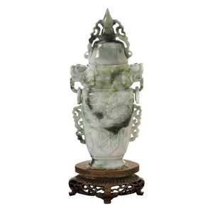 Carved Celadon Jadeite Covered Vasewith Stand