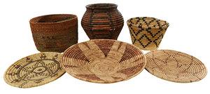 Five Southwestern Tribal Baskets