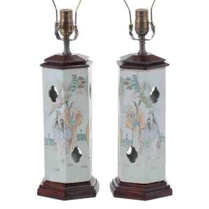 Pair Famille Verte Porcelain Hat Stands to Lamps