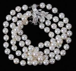 Platinum Diamond & Pearl Bracelet