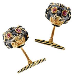 David Webb 18kt. Ruby & Enamel Cufflinks