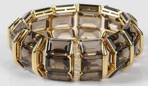 18kt. Smoky Quartz & Diamond Bracelet