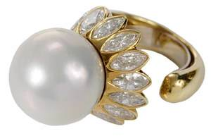 18kt. Pearl & Diamond Ring