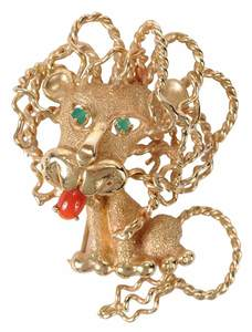 Retro 14kt. Lion Brooch